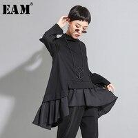 [EAM] Loose Fit Asymmetrical Ruffles Sweatshirt New High Collar Long Sleeve Women Big Size Fashion Tide Autumn Winter 2019 1A529