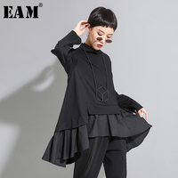 [EAM] Loose Fit Asymmetrical Ruffles Sweatshirt New High Collar Long Sleeve Women Big Size Fashion Tide Autumn Winter 2019 1A529