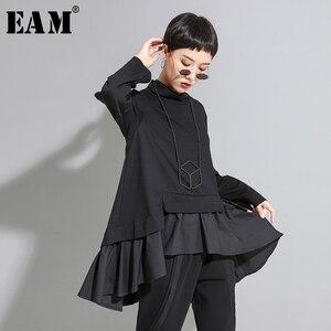 Image 1 - [EAM] Loose Fit סימטרי ראפלס סווטשירט חדש גבוה צווארון ארוך שרוול נשים גודל גדול אופנה גאות אביב סתיו 2020 1A529
