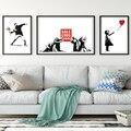 Скандинавский граффити художественный красный воздушный шар для девочек черно-белая роспись Бэнкси художественный плакат для гостиной сп...
