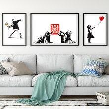 Nordic graffiti arte menina e balão vermelho preto e branco mural banksy arte cartaz sala de estar quarto barra decoração para casa