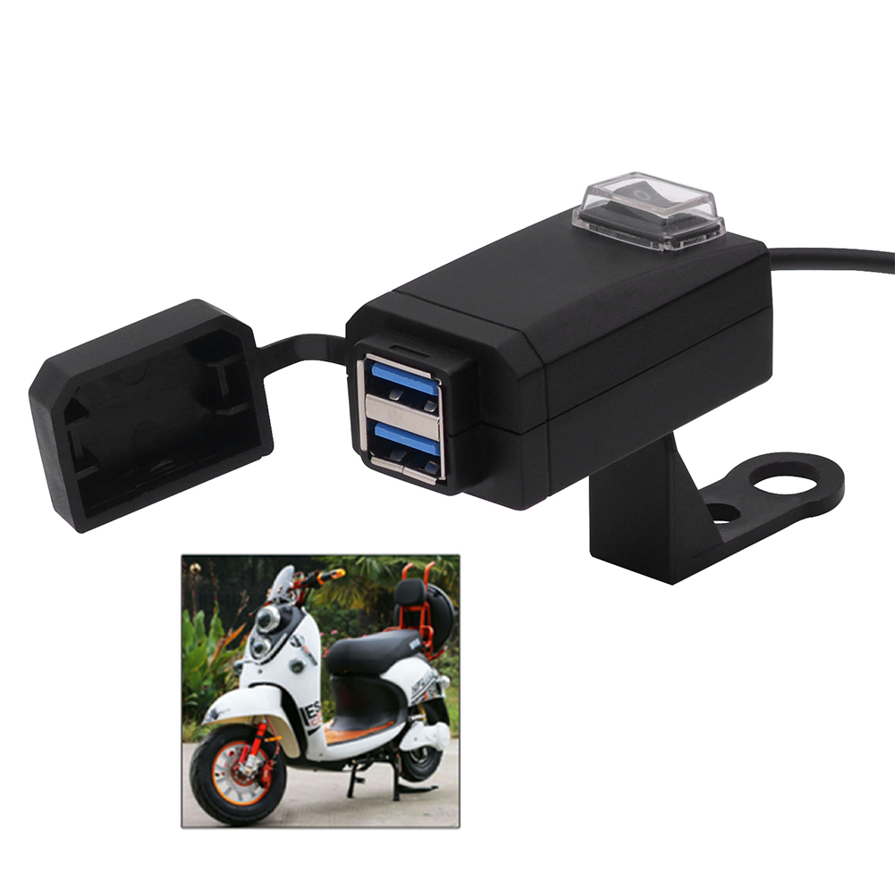 12V Motorcycle Charger QC3.0 Dual USB Quickly Charge Waterproof Moto Equipment Power Supply Adapter for iphone Samsung Huawei|Motorcycle Electronics Accessories| |  - title=