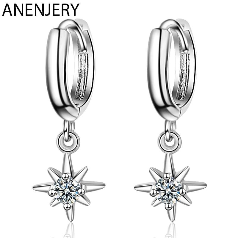 ANENJERY de moda de Plata de Ley 925 colgante con forma de estrellas pendientes con encanto pendientes de la joyería para las mujeres accesorios S-E967
