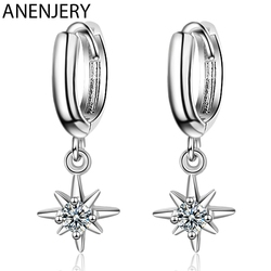 ANENJERY 925 Sterling Silver Fashion Star Shaped Pendant Earrings With Charm Jewelry Earrings For Women Accessories S-E967