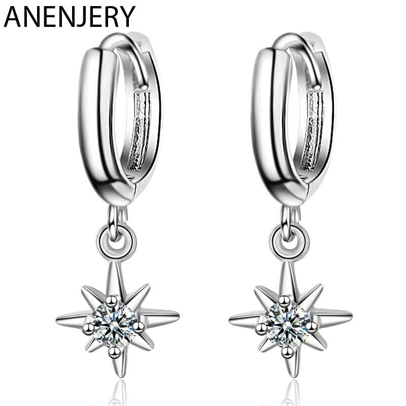 ANENJERY de moda colgante con forma de estrellas, pendientes de plata de ley 925 joyas de plata con encanto pendientes para las mujeres accesorios S-E967