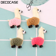 DECOCASE 30pcs Cute White Alpaca Slime Charms Beads Headwear Flatback Crafts Ornaments Decoration Phone Case DIY Accessories