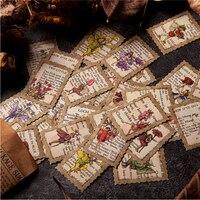 Dimi 50 Pcs Das geheimnis in die stempel Vintage Aufkleber Pack Elfen Schmetterling Blumen Reise Geschrieben In Notebook Sammelalbum Schreibwaren