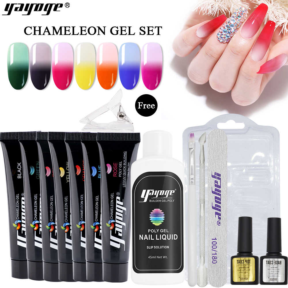 Yayoge termal Poly Extension Gel de uñas Polish15ml Builder Gel temperatura cambio de Color remojo de esmalte de Gel UV