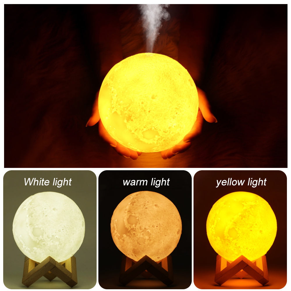 880ML Air Humidifier Diffuser  Essential Oil 3D Moon Lamp Light USB Ultrasonic Humidificador Night Cool Mist Purifier