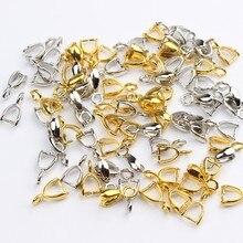 50 Uds 5*10mm hebilla de semillas pendientes broches ganchos bolas conectores Mini cobre encantos fianza granos suministros para la fabricación de la joyería