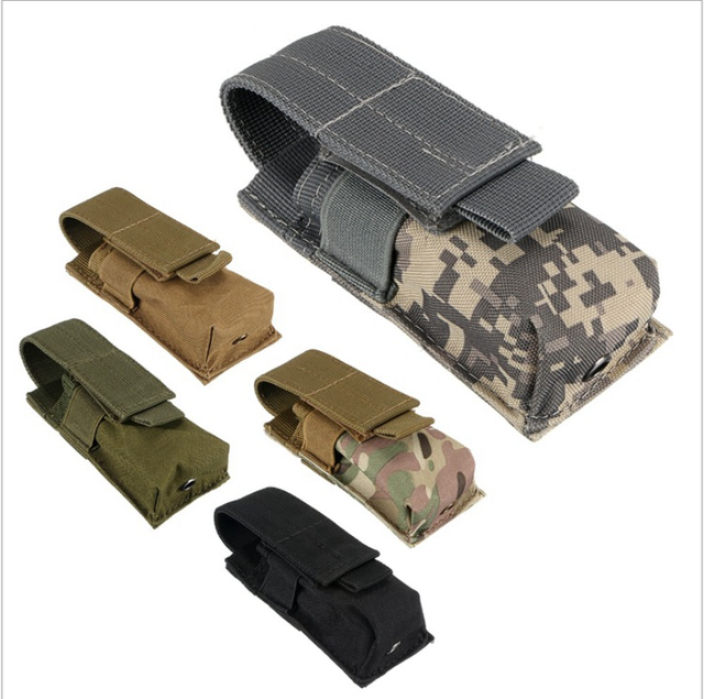 Tactical Molle Flashlight Holster Pouch Single Pistol Ammo Magazine Pouch Torch Case Airsoft EDC Tool Knife Light Holster