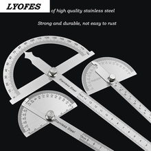 Arm-Ruler Protractor Metal Mathematics-Measuring-Tool Round-Head Adjustable Rotary Stainless-Steel