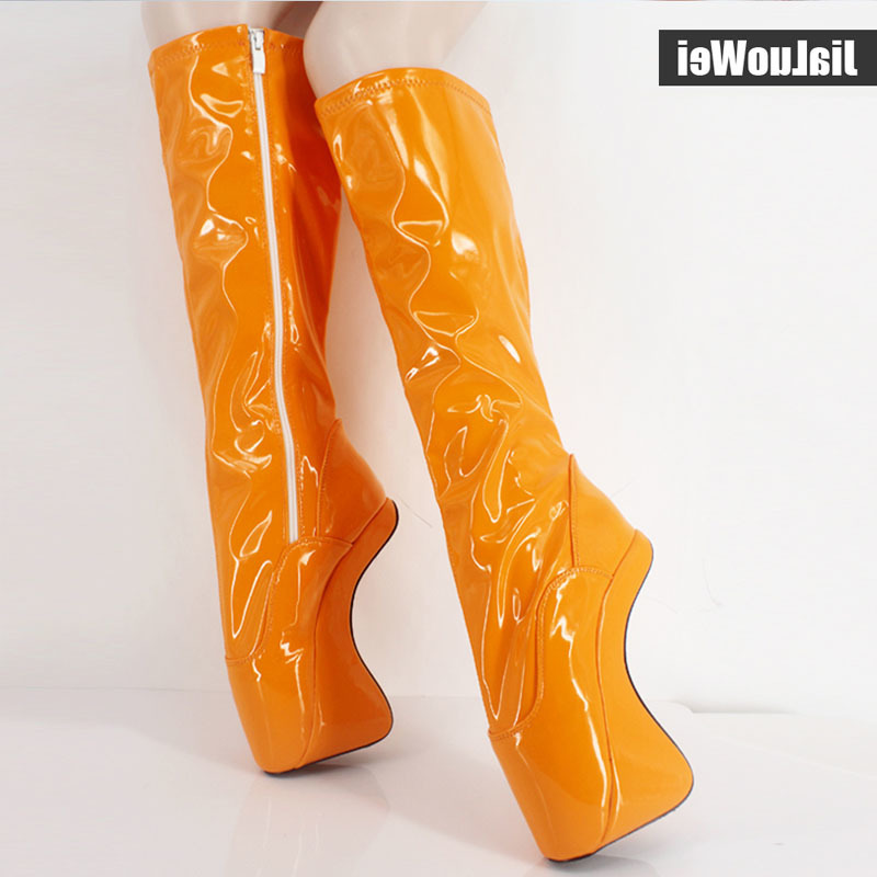 Fashion women autumn spring boots sexy fetish Ballet 18cm high heels no-heel shoes knee high boots white long boots big size