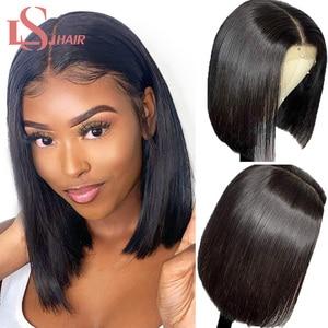 Прямые короткие парики LS для фронта с кружевом 13x4, человеческие волосы с фронтальным кружевом, бразильские парики 4x4 с закрытыми волосами Baby...