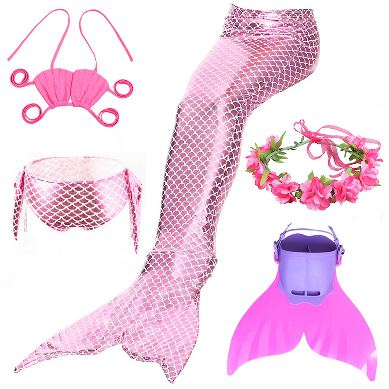 Girl's Mermaid Tail With Fins Monofin Flipper Costumes Mermaid Swimming Tails For Kids Girls Cosplay Bikini Wear Swimsuits