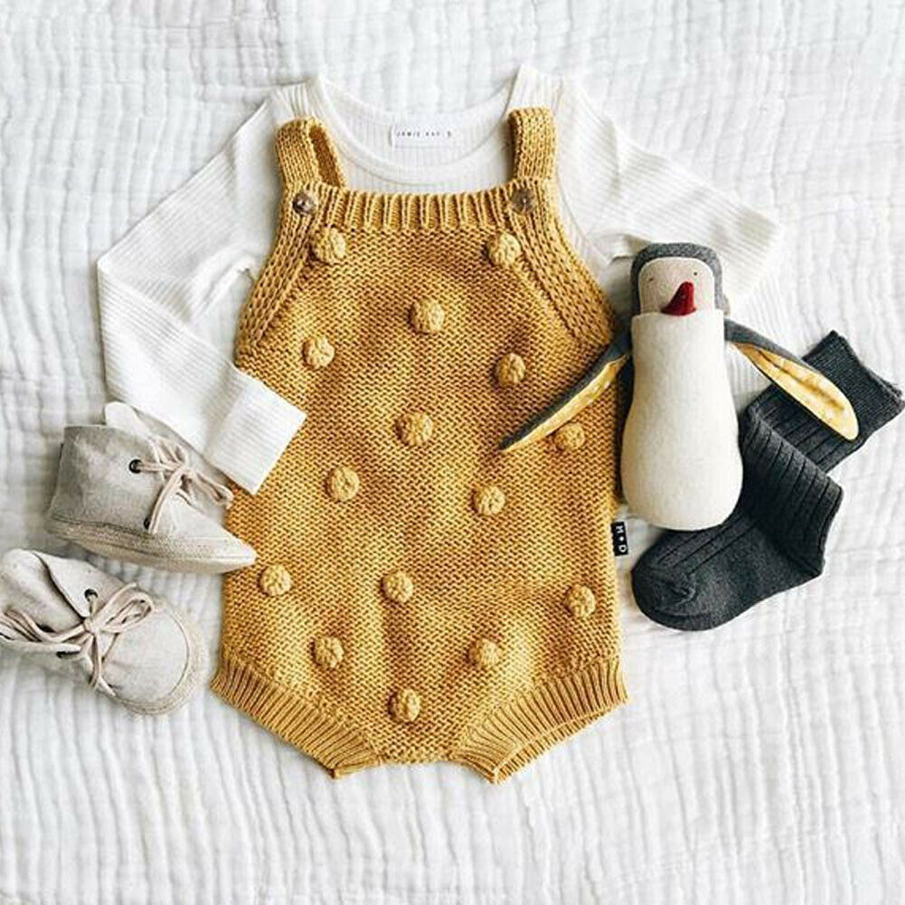0-18M 4COLOR Winter Newborn Infant Baby Boy Girl Bodysuits Sweater Sleeveless Jumpsuit Playsuit Clothes Outfits