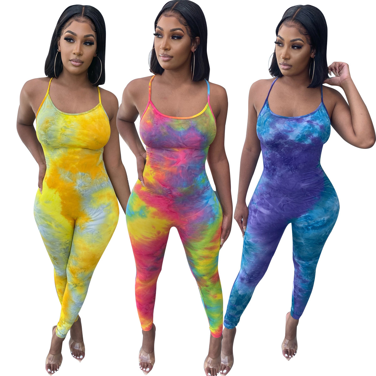 Sexy Backless Women Jumpsuit Sleeveless Sling Hot Night Club Bodycon One Piece Rompers Tie Dye Printed Bodysuit Summer Clothes
