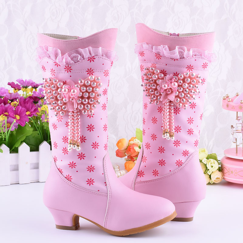 Kids Girls Floral Beads Sweet Knee High Boots Korean Velvet Lined Shoes Warm New