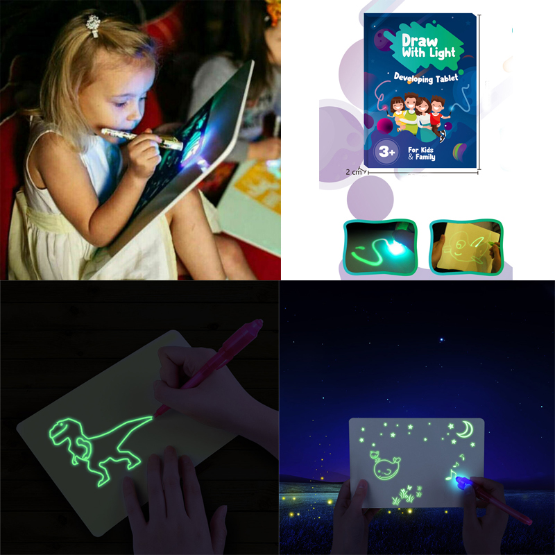 A3-A5 LED Luminous Drawing Board Graffiti Doodle Drawing Tablet Magic Draw With Light Fun And Developing Toy for Christmas Gift