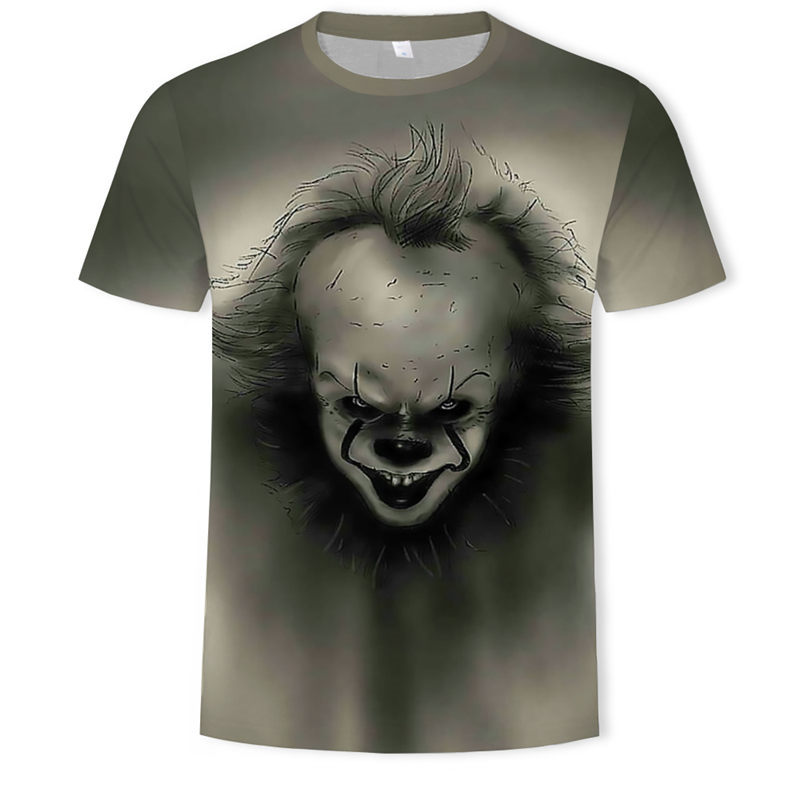IT movie men summer   T     Shirt   Men's stephen king printed Halloween pennywise it Custom High Quality clown Tops Tees male   t  -  shirt