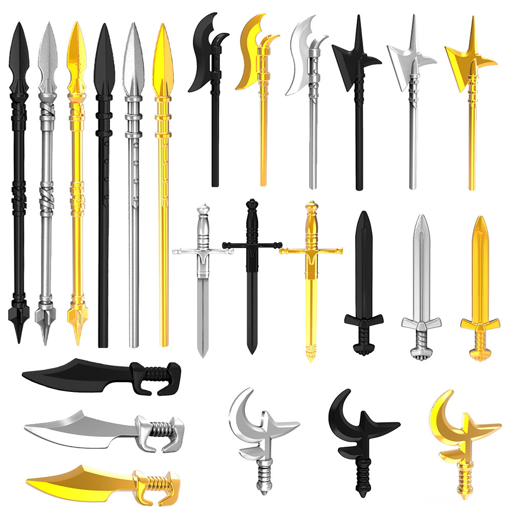 24pcs/lot Figures Medieval Knights Rome Weapons Gold Lance Ax Sword Weaponry Part Building Blocks Bricks Gift DIY Kids Toys