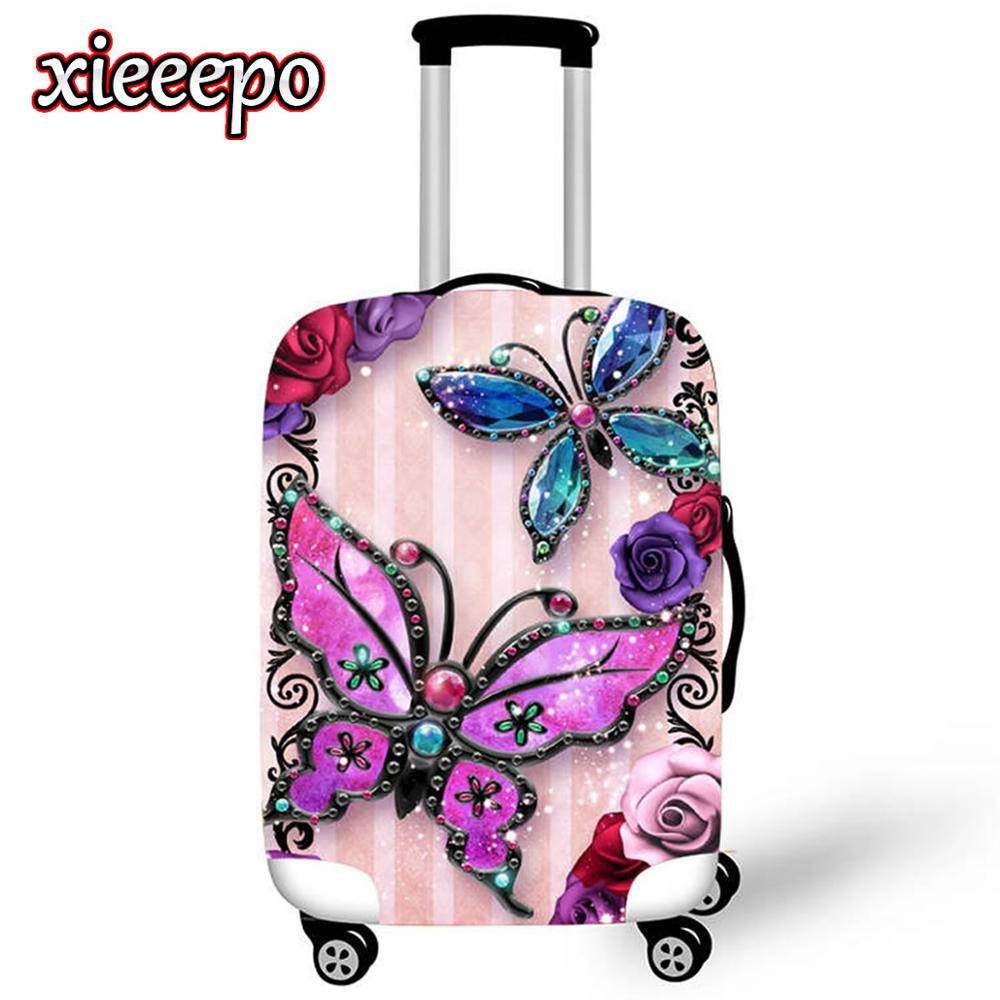 Animal Suitcase Case Protective Cover Waterproof Thicken Elastic 3D Butterfly Luggage Cover For 18-32 Inch XL Travel Accessorie