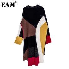 EAM-vestido holgado de manga larga para otoño e invierno, traje asimétrico de punto colorido, talla grande, cuello redondo, 2021, 13S828