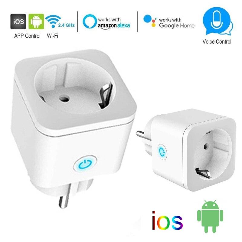 Tuya Wi-Fi ЕС Smart Plug адаптер 16A Беспроводной пульт дистанционного управления голосовой Управление Мощность монитор таймер розетка, eWeLink с изобра...