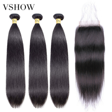 Brazilian Straight Hair 3 Bundles With Closure 100% Human VSHOW Remy Weave