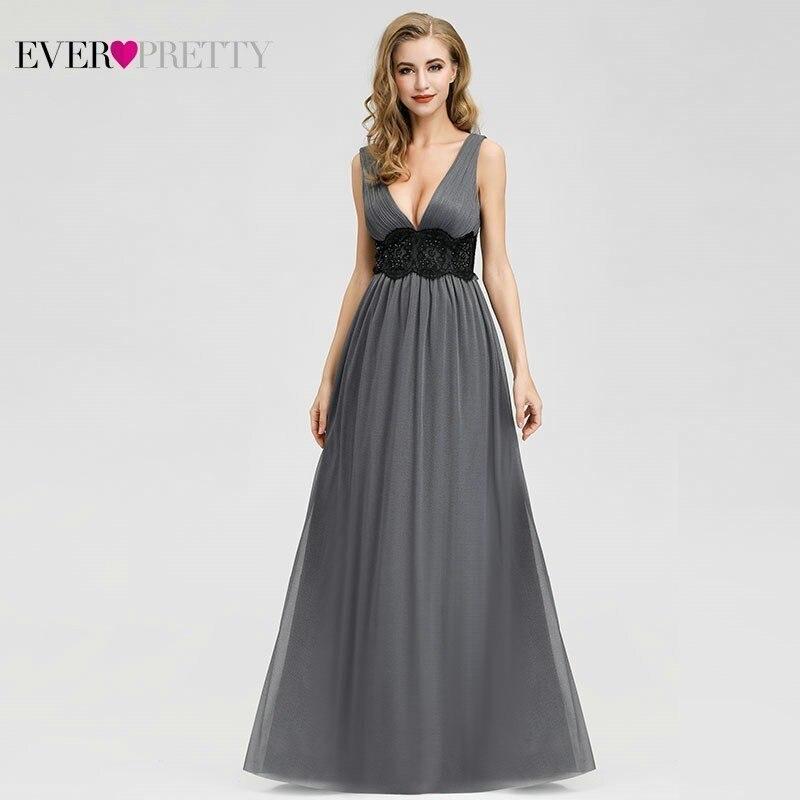 Elegant Grey Prom Dresses Ever Pretty A-Line Deep V-Neck Sleeveless Beaded Floral Lace Formal Dresses For Party Vestidos De Gala
