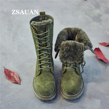 ZSAUAN Women Snow Boots Suede Winter Fur Lady Fashion Casual Female Comfortable Genuine Leather Slim