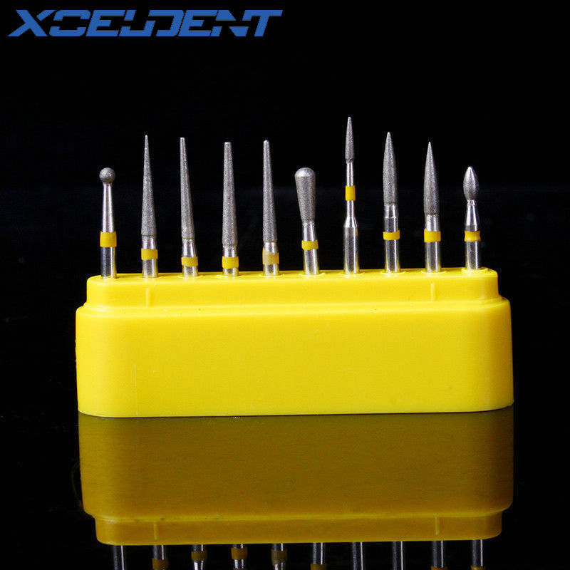 10pcs/Set Dental Diamond Burs For Teeth Porcelain Ceramics Composite Polishing Lab Material