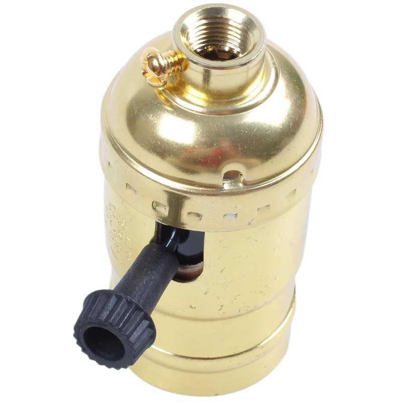 シャンデリア E27 レトロエジソンランプソケットとスイッチ 110-220V ゴールド