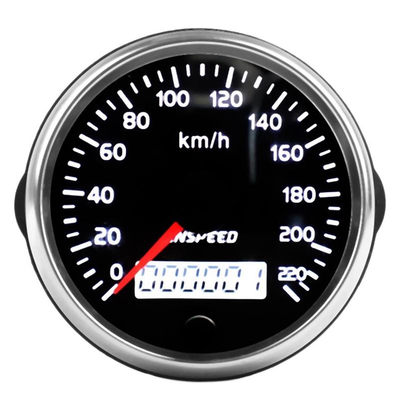 CNSPEED Universal GPS Speedometer 12V/24V Odometer 85mm 220Km/H for Car Motorcycle LCD Tachometer