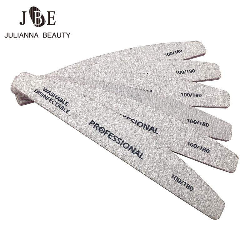 Профессиональные пилки для ногтей 5 шт./лот, пилки для ногтей, шлифовальные пилки, набор инструментов для маникюра с полировкой и изгибом, 100/...