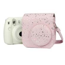 Camera Case PU Leather Protective Bag Cover Honeycomb Glitter Pink for Polaroid Fujifilm Instax Mini 9 8 8+