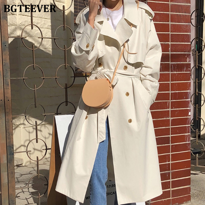 BGTEEVER Casual Ladies Solid Turn-down Collar   Trench   Coat Women Sash Long Female Korean Style Windbreaker 2019 Outerwear Femme