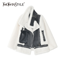 Jackets Lambswool-Coat TWOTWINSTYLE Patchwork Korean Winter Women Long-Sleeve Casual