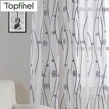 Элегантные шторы Topfinel из пряжи для спальни, для кухни, натуральные вышитые прозрачные шторы для гостиной, современные оконные шторы