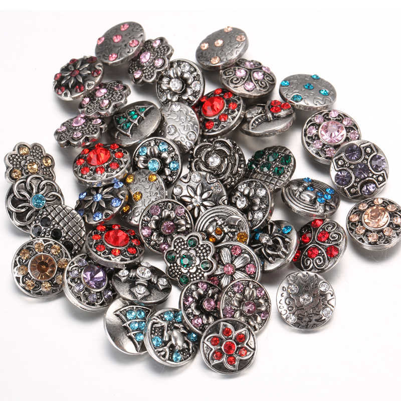 10pcs/lot Wholsale Snap Button Jewelry Rhinestone Metal Glass 12mm 18mm Flower Snap Buttons Fit Leather Silver Snap Bracelet