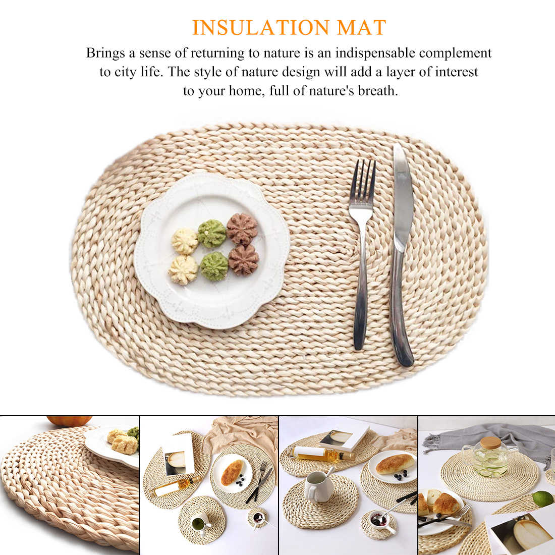 Rattan Placemats Straw Cup Coasters Dining Table Mat Heat Insulation Pot Holder Wicker Drink Coaster Kitchen Accessories