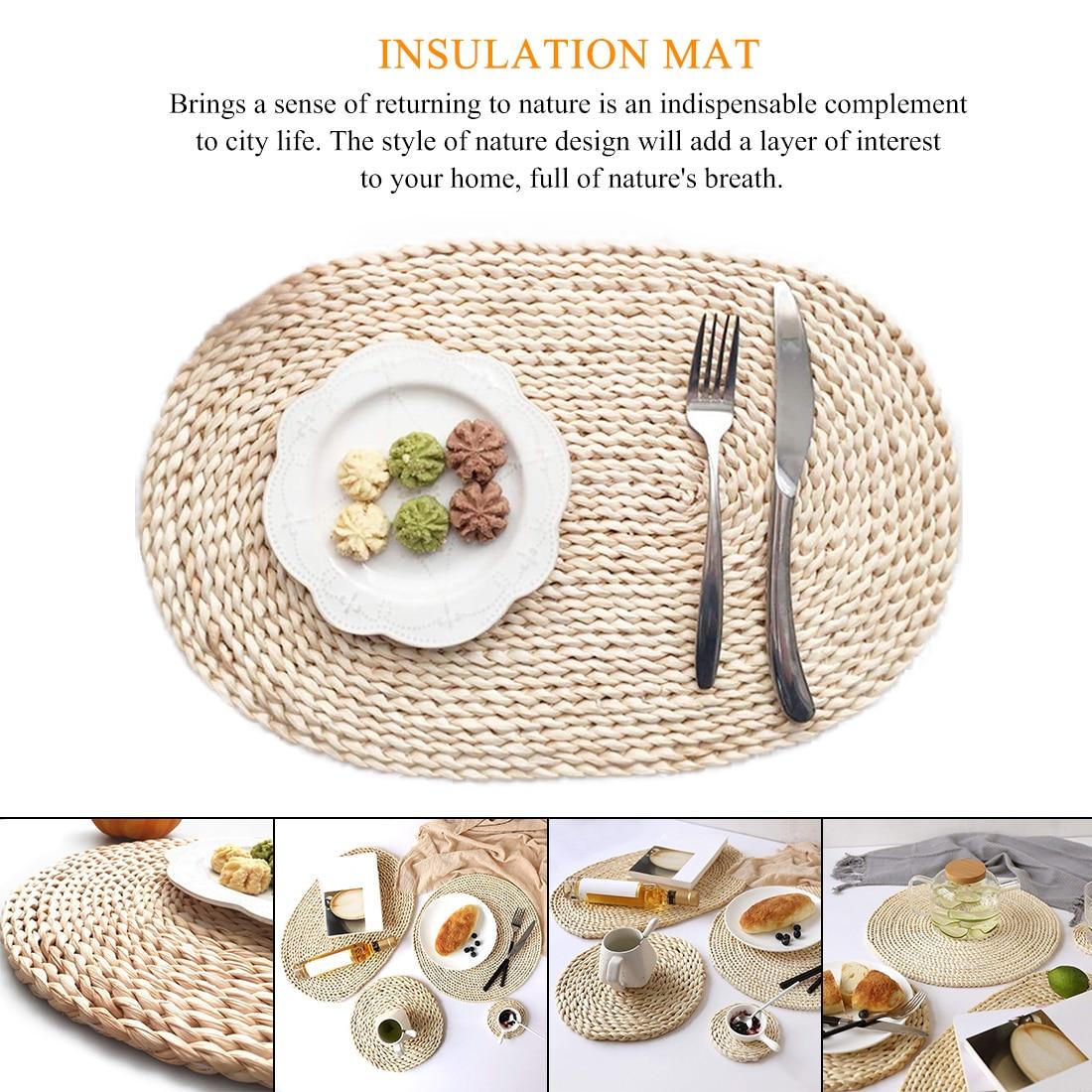 Ratten Woven Heat Insulation Kithchen Utensil Tablemat Placemat Coaster Holder