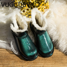 Snow boots women Sheepskin one short tube 2019 new patent leather waterproof boots winter plus velvet crystal buckle(China)