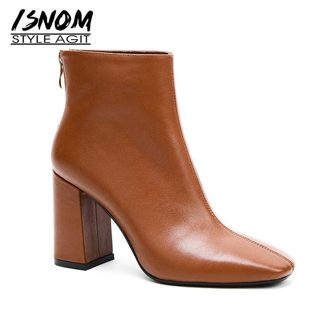 ISNOM en cuir véritable bottines 2020 bout carré bottes en caoutchouc équitation chaussures pour femmes dames gros talon haut fermeture éclair bottes dhiver