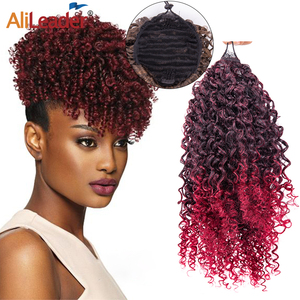 Alileader Fashion Kinky Curly Ponytail Drawstring Puff Synthetic Curly Ponytail With Combs Heat-Resisting Drawstring Pony Tail