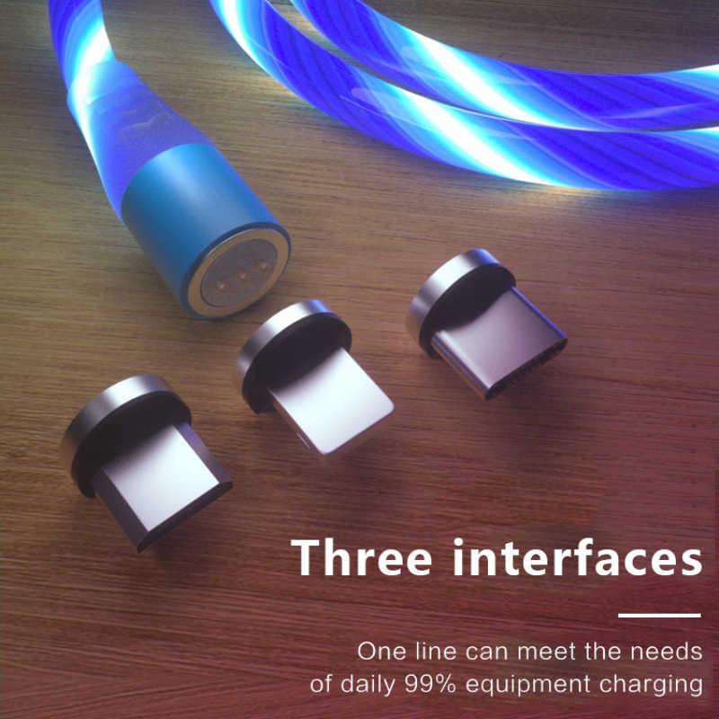 Cable Micro USB tipo C de imán de luz LED de Xiaomi a para Huawei Smasung magnético de carga rápida Cable de cargador USB C Cable de datos