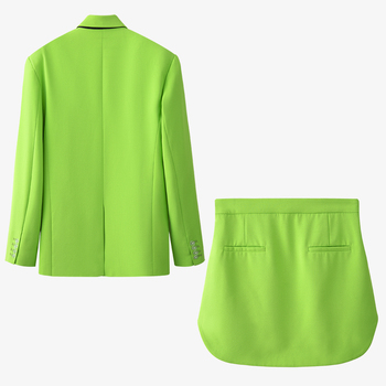Ladies Green Casual Skirt-Suits