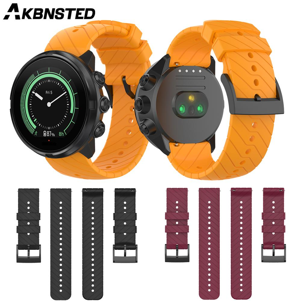 AKBNSTED For Sunnto 9/9 Brao Smart Watch Sport Soft Silicone Replacement Watch Strap Bracelet High Quality Watch Accessories