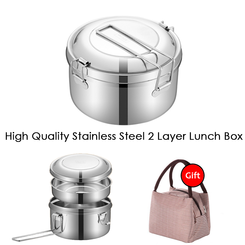 High Quality Outdoor EDC Stainless Steel Kids Lunch Box With Bag Portable Bento Box Leak-Proof Food Container Kitchen Lunchbox