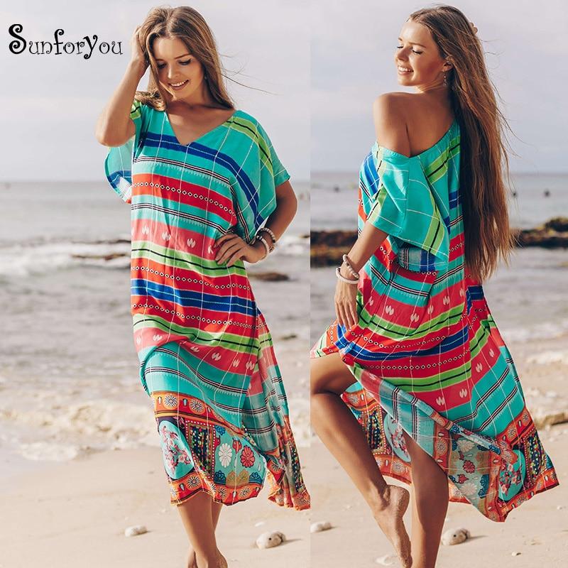 2020 Women Long Boho Dress Sarongs Bathing Suit Cover Up Robe Plage Beach Wear Women Plus Size Swimwear Pareo Beach Cover Up
